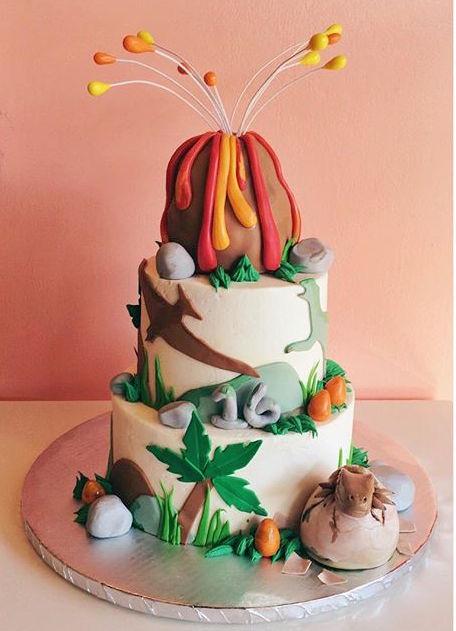 volcano and dinosaur cake