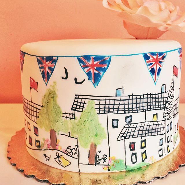 british hand painted cake