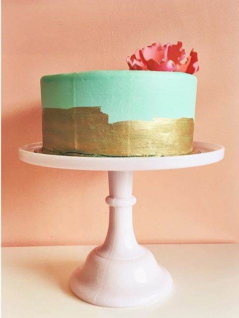 mint and gold birthday cake