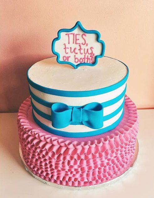 ties or tutus gender reveal cake