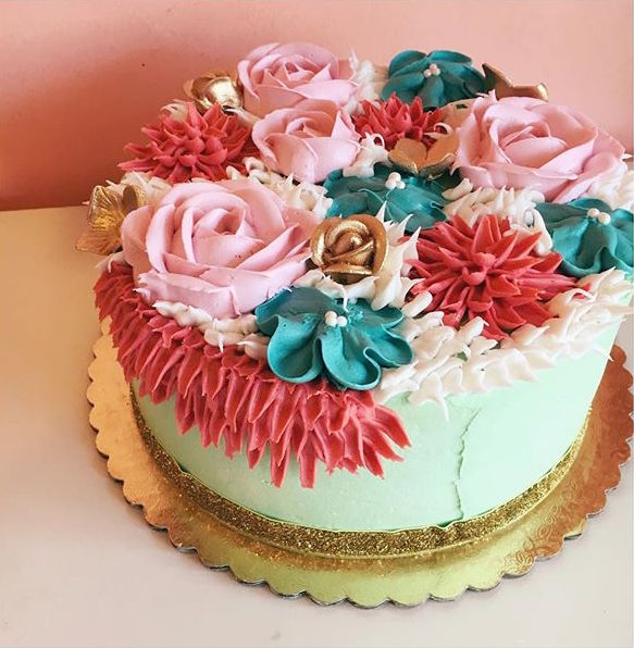 floral cake jewel tones and gold