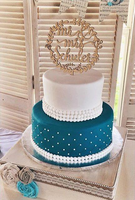 traditional wedding cake teal