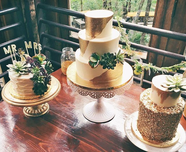 modern wedding cake gold trio