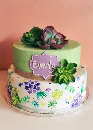 succulents hand painted cake