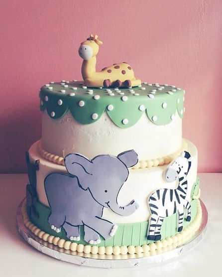 Buttercream and fondant mixed cake with 2D and 3D animals