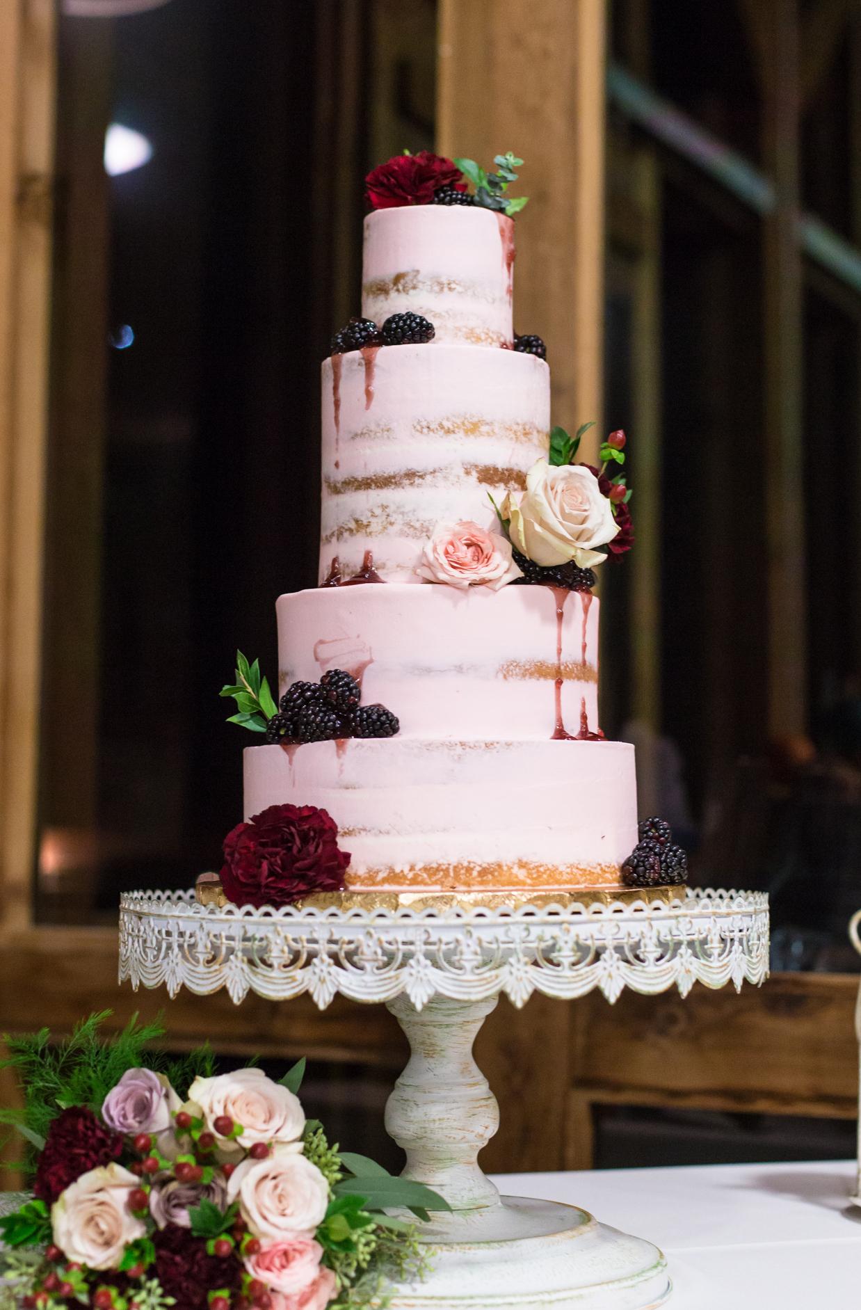 blush semi naked cake