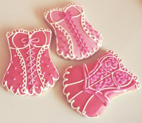 pink bustier cookies