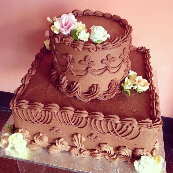 Chocolate buttercream anniversary cake with sugar flowers