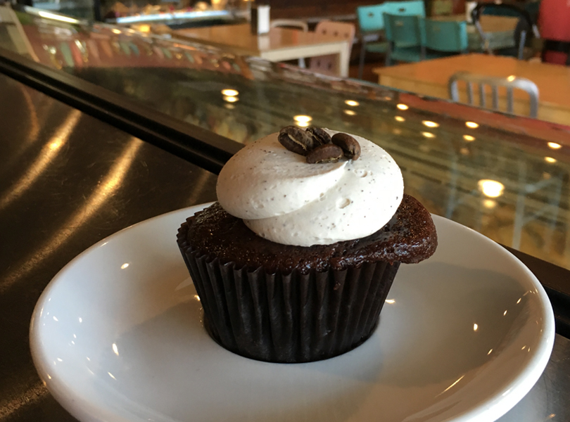 Mocha Cupcake - chocolate cake topped with espresso buttercream and coffee beans