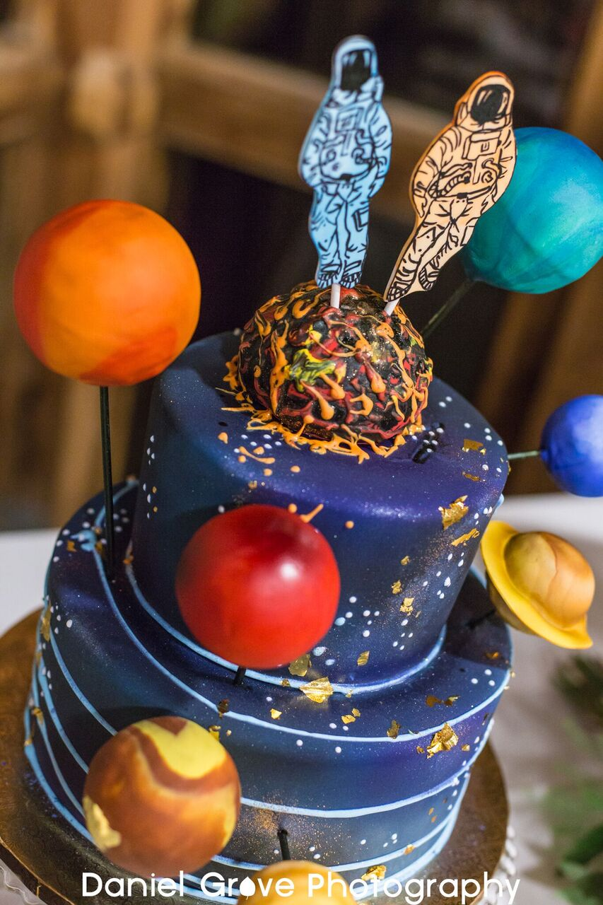 space and time grooms cake