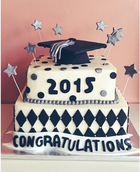 graduation cake black and silver