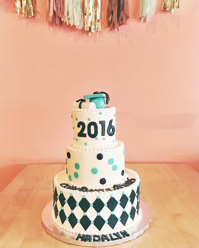 graduation cake black and teal